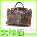 "Fendi celerier coated canvas tote bag khaki series 8BN156 ""response.""-fs3gm"