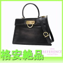 "Ferragamo gancini leather 2-WAY handbag black ""response.""-fs3gm"