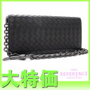 "Bottega Veneta intrecciato leather chain long wallet black 261381 ""enabled."""