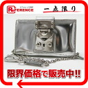 "Miu Miu leather chain wallet silver 5M1117-s enabled.""fs3gm"