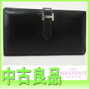 "Hermes trifold wallet ""Bernd"" black silver fitting Casemates scarf K ticking ""response.""-fs3gm"