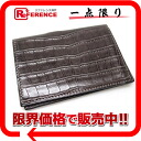 HERMES card case alligator dark brown 》 fs3gm for 《