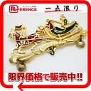 X gold metal fittings 》 fs3gm of HERMES cloisonne ware broach red system X Green line for 《