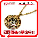 "Chanel CC large medal pendant necklace gold / red × black ""response."" fs3gm"