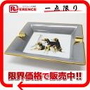 HERMES porcelain Limoges firing ashtray ashtray dog pattern gray X white system 》 fs3gm for 《