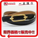 68 HERMES Lady's belt boxcalf black X gold Y 刻 》 fs3gm for 《