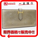 "Hermes two fold the wallet ""Bernd"" Chevre metallic gold gold bracket H engraved ""dealing""? s ""fs3gm"