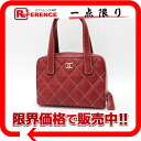 "Chanel calfskin ワイルドステッチ handbag red Matt bail A20665 good as new ""support."""