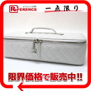 CHANEL lambskin quilting jewelry box white / silver metal fittings A68674 beauty product 》 fs3gm for 《