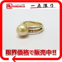 "Recycled jewelry K18YG Golden Pearl 10.2 mm Diamond 0.09 ct ring 12, brand new as well ""response.""-fs3gm02P05Apr14M"