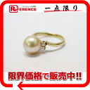 "Recycled jewelry K18YG Golden Pearl 9.6 mm diamonds 0.16 ct ring 12, brand new as well ""response.""-fs3gm"
