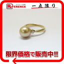 "Recycled jewelry K18YG Golden Pearl 9.7 mm diamonds 0.16 ct # 11 brand new ring as well ""response.""-fs3gm"
