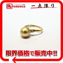 "Recycled jewelry K18YG Golden Pearl 9.7 mm diamonds 0.16 ct ring 12, brand new as well ""response.""-fs3gm"