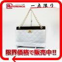 "Chanel caviar skin quilting wood coin purse bag チェーントート white Matt BRACKET ""response.""-fs3gm"