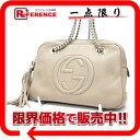 Gucci SOHO (Soho) leather double chain shoulder bag Small beige 308983 》 fs3gm for 《