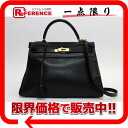 "Sew in a Hermes handbag ""Kelly 32"" with shoulder strap ボックスソフトカーフ black gold metal Y ticking ""response."""