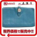 "Hermes Dogon MM-2-fold long wallet Blue Jean silver metal ""response."""