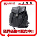 CHANEL caviar skin drawstring purse rucksack black X silver metal fittings black 》 fs3gm for 《
