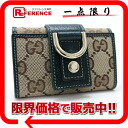 Six gucci NEW ABBEY( new Abie) GG key case beige X green 141419 like-new 》 fs3gm for 《