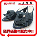 35.5 CHANEL denim camellia mule indigo blue 》 fs3gm for 《