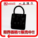 PRADA flower motif embroidery handbag velour black 》 fs3gm for 《