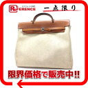 "Hermes airbag MM 2WAY handbag toil Ash natural B inscribed ""response.""-fs3gm"