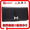 "Hermes ""ベアンスフレ"" gusset folded and unused wallet シェーブルコロマンデル black silver metal N inscribed ""support."""