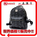 "Unused emciem studded with MCM logo mini backpack black ""response.""-fs3gm"