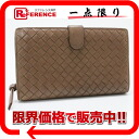 ボッテガヴェネタイントレチャート two fold round zip long wallet brown 114074 》 fs3gm for 《