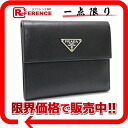 プラダサフィアーノ three fold wallet black M170A 》 fs3gm for 《