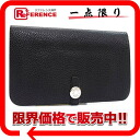 "Hermes 2 fold wallet ""Dogon GM"" Silver engraved metal fittings slope system Dark Navy with coin purse L? s support.""fs3gm"