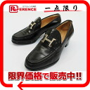 "36 HERMES leather Lady's loafer ""hard"" black silver metal fittings 》 fs3gm for 《"