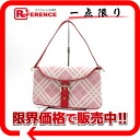 Burberry blue label canvas check semi-shoulder bag pink X white like-new 》 fs3gm for 《