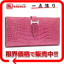 "Hermes ベアンスフレ diamond with gusset fold wallet シャイニーアリゲーター Fuchsia pink K18WG bracket J ever-changing beauty products ""dealing."" fs3gm"