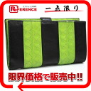 ボッテガヴェネタイントレチャート two fold round zip long wallet black X green 114074 》 02P05Apr14M for 《