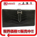 "Hermes ""ベアンスフレ"" gusset fold wallet クロコアリゲーター black x silver bracket J ticking ""response."""