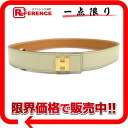 75 HERMES Ashe belt boxcalf ivory gold metal fittings E 刻 》 for 《