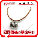 HERMES leather zebra charm choker brown X silver metal fittings 》 02P11Jan14 for 《