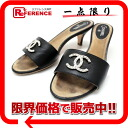 37.5 CHANEL CC sandals mule black 》 for 《