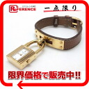 HERMES Kelly watch Lady's watch quartz gold gold metal fittings クシュベル Z 刻 》 for 《