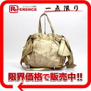 "Prada leather side Ribbon 2-WAY handbag gold ""response.""-02P05Apr14M"