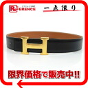 65 HERMES H belt reversible belt boxcalf X クシュベルブラック X gold gold metal fittings X 刻 》 for 《