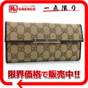 "Gucci METAL BAR (メタルバー) GG W hook length wallet beige x Brown 112715 like new ""support."""