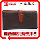 "Two HERMES fold long wallet ""ベアン"" by color Epson chocolate X rouge madder silver metal fittings L 刻 》 for 《"