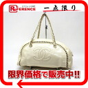 Chanel luxury チェーンミニ Boston handbag patent leather off white fs3gm