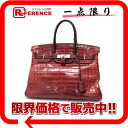 "Fs3gm Premier handbag Hermes ""Birkin 35"" クロコダイルニロティカス Matt ルージュアッシュ Matt silver metal fittings G ticking 2003 manufacturing ""support."""