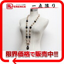 CHANEL 93P fake pearl long necklace purple X pink beige / gold metal fittings 》 02P11Jan14 for 《