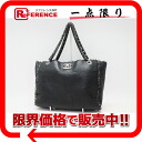 CHANEL calfskin X tweed side quilting chain tote bag black silver metal fittings 》 for 《