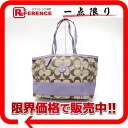 Coach signature stripe multi-tote bag khaki X purple F17443 》 for 《