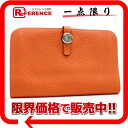 "Hermes 2 fold wallet ""Dogon GM"" slope Orange silver hardware with coin purse H engraved ""response."""